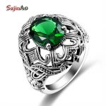 Szjinao Elegant Green Stone Emerald Skull Ring Women 925 Sterling <b>Silver</b> Fashion <b>Jewelry</b> Brand New Vintage Charm Rings Gift