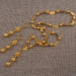Anniyo 63cm Flower and Beads Necklaces and Round Ball Earrings for Women Marshall Islands Gold Color <b>Jewelry</b> Party Gifts #126706