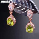 ZHHIRY Natural Peridot Earrings Genuine Gem Stone Solid 925 <b>Sterling</b> <b>Silver</b> Real Earrings Women Fine <b>Jewelry</b>
