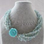 Wholesale price 16new ^^^^Beautiful 18″ 6row natural chip <b>necklace</b> – jaffaite flower GP clasp