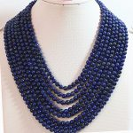 Original design 8 rows 6mm blue lapis lazuli stone round beads diy necklace semi-precious <b>jewelry</b> <b>making</b> 17-26inch YE2072
