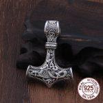 Real 925 Sterling <b>Silver</b> Thor Hammer Mjolnir choker Viking Amulet Scandinavian pendant <b>necklace</b> Norse Men Jewelry