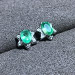Natural Emerald <b>Earrings</b> Good Quality Gemstone Wedding Jewelry for Women
