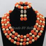 <b>Handmade</b> Orange Coral Balls <b>Jewelry</b> Set Nigerian Wedding African Beads Coral Necklace Bridal <b>Jewelry</b> Sets Free Shipping ABF781