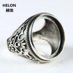 Fine <b>Jewelry</b> Thai <b>Silver</b> <b>Sterling</b> <b>Silver</b> 925 Engagement Wedding Main Ring Round Cabochon 20x20mm Semi Mount Amber Agate Gemstone