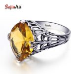 Szjinao Real 100% 925 Sterling Silver Flower Ring Yellow Crystal Finger Rings for Women <b>Handmade</b> Sterling Silver Fine <b>Jewelry</b>