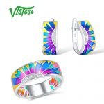 VISTOSO <b>Jewelry</b> Set HANDMADE Colorful Enamel White CZ Stones Ring Earrings 925 <b>Sterling</b> <b>Silver</b> Women Fashion <b>Jewelry</b> Set