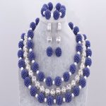 Dudo Dark Blue African Beads <b>Jewelry</b> Set Acrylic Balls Nigerian Beads 3 Pics Bridal <b>Necklace</b> Set For Women Free Shipping 2018