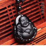 Obsidian Stone Pendant Light Buddha Buddha Maitreya Crystal Pendant diy real stone Obsidian jewelry <b>necklace</b> charms popsocket