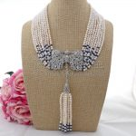 N090408 19″ 9Strands White Pearl Blue Stone Necklace CZ Pendant