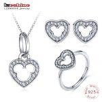 LZESHINE New 925 Sterling Silver Heart <b>Jewelry</b> Set 3pc Charm Wedding <b>Jewelry</b> Miki Mouse Stud Earrings/Pendant/Ring Set For Women