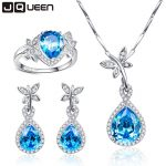 Big Promotion Wedding Jewelry Sets for Brides 925 Sterling <b>Silver</b> Blue Topaz Drop <b>Earrings</b> Ring Necklace Bridal Jewelry Set