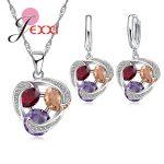 JEXXI Three Color Rhombic <b>Jewelry</b> Set Crystal CZ Zirconia Silver Pendant Necklace & Earrings Sets for Women Wedding