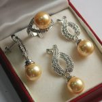 Women's Wedding noble lady's silver plated 12mm golden shell pearl pendant, earring, ring sets real silver-<b>jewelry</b>