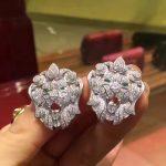 lion head stud <b>earring</b> 925 <b>sterling</b> <b>silver</b> with cubic zircon fashion women jewelry pave stone