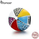 BAMOER Authentic 100% 925 Sterling Silver Circus Colorful Ball Enamel CZ Charm Beads fit Charm Bracelet Necklaces <b>Jewelry</b> SCC662