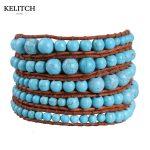 KELITCH <b>Jewelry</b> 1Pcs Brown Leather Chain 4mm 8mm Synthetic Green Stone <b>Handmade</b> Bead Charm Bracelet For Women Nice Package China