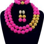 Gorgeous Fuchsia Pink African Beads Jewellry Set <b>Handmade</b> Plastic Balls Nigerian Wedding Beads Necklace <b>Jewelry</b> Set Bride QW012