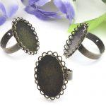 50pcs Cabochon 18*25mm Lace Pad ring blank with Cameo Tray,AntiqueBronze Ring setting,<b>Handmade</b> DIY Zakka <b>jewelry</b> Finding