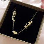 V Attract Gold Double Names Heart BFF Necklace Custom <b>Jewelry</b> Personalized Name Necklace For Women <b>Wedding</b> Gift BFF Collar Mujer