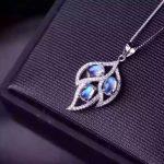 natural blue moonstone stone pendant 925 Sterling <b>silver</b> Natural gemstone Pendant Necklace trendy big Leaves women girl <b>jewelry</b>