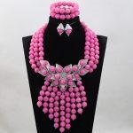 Splendid Fuchsia Pink African Beaded Jewelry Set Wedding Bib Statement Necklace Set 2017 Bride Gift Free Shipping WD995