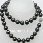 Fashion style round charms natural shell 10mm newly black pearl long chains diy rope necklace <b>jewelry</b> <b>making</b> 35inch MY4533