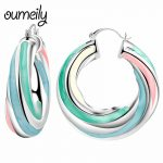OUMEILY Hoop Earrings For Women Big Large Geometric Earrings Female Wedding Silver Color Metal <b>Fashion</b> <b>Jewelry</b> Earring