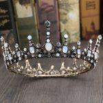 Jonnafe Vintage Opal Crystal Big Tiara <b>Wedding</b> Crown Baroque Bridal Hair <b>Jewelry</b> Accessories Women Round Tiaras Headwear