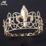 Snuoy King Crown Full Round Medieval Rhinestone Tiara For Men Gold & Silver <b>Wedding</b> Hair Accessories Diadem <b>Jewelry</b>
