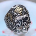 S925 <b>sterling</b> <b>silver</b> <b>jewelry</b> Thai <b>silver</b> male ring King Kong gorilla fashion ring