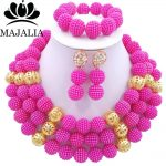 Fashion african <b>jewelry</b> set Fuchsia Pink Plastic Nigeria Wedding african beads <b>jewelry</b> set Free shipping Majalia-203
