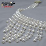 YANCEY Fashion Bridal wedding ceremony jewelry, 7-8MM White color Natural Freshwater Pearl Jewelry, Pearl Necklace and <b>Earrings</b>