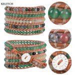 KELITCH Bracelets <b>Jewelry</b> Friendship Bracelets Natural Stone Beaded Summer Cool Leather Chain 5 Wrap <b>Handmade</b> Women Bracelet