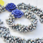 Wedding Woman <b>jewelry</b> Set 4 Strands 10mm Blue Gray Natural Freshwater Pearl Choker Necklace Bracelet Blue Rose Clasp <b>Handmade</b>