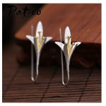 PATICO 925 Sterling Silver Long Flower Earrings for Women New Design Lovely Girls Gift Statement <b>Jewelry</b> Pendientes Plata 925