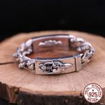 S925 <b>sterling</b> <b>silver</b> men's bracelet personality fashion classic <b>jewelry</b> punk style domineering cross shape 2018 new gift to send
