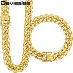 Davieslee Womens Mens Jewelry Set Miami Curb Cuban Link 316L Stainless Steel Hip Hop Gold <b>Silver</b> Tone 8/12/14mm LHSM01