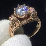 <b>Handmade</b> Flower ring Rose Gold Filled 925 silver 9mm Round Cz Engagement wedding band ring for women Bridal <b>Jewelry</b>