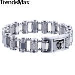 Trendsmax Skull Lock Men's <b>Bracelet</b> 316L Stainless Steel Wristband <b>Silver</b> Color Link Chain Male Jewelry HB461