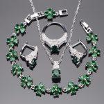 Green Zirconia 925 Sterling Silver Bridal <b>Jewelry</b> Sets Earrings For Women Bracelet Pendant Ring Necklace Set Jewellery Gift Box