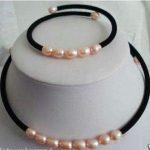 Prett Lovely Women's Wedding pink pearl Black Velours Necklace bracelet sets silver-<b>jewelry</b>