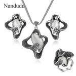 Nandudu Vintage Metal with Opal Stone Pentant <b>Necklace</b> Earrings Rings <b>Jewelry</b> Sets Rock Punk Style <b>Jewelry</b> Series for Women Gift