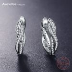 ANFASNI New Design 925 Sterling Silver Twist Of Fate Earrings With Clear CZ <b>Jewelry</b> <b>Accessories</b> Authentic Gift PSER0059-B