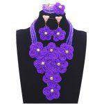 African Beads <b>Jewelry</b> Set Nigeria Wedding Beads Sets Flower Purple Jewellery Set for Women 100% <b>Handmade</b> Fashion 2018 Bridal Set