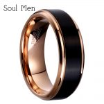 8mm/6mm/4mm Black & Rose Gold Color Tungsten Carbide Wedding Band for Boy and Girl Friendship Ring Russian Men Simple <b>Jewelry</b>