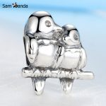 Sam Panda Authentic 100% 925 Sterling Silver Beads <b>Antique</b> Two Birds Beads Fit Bracelets & Bangles Necklace <b>Jewelry</b> SS2628