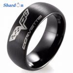 SHARDON <b>Wedding</b> band Engagement <b>jewelry</b> Tungsten shiny ring with three color Domed Chevrolet Chevy Corvette Logo Ring