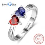 Double Heart Personalized Ring Custom Engrave Names & Birthstone Promise Rings 925 Sterling Silver <b>Jewelry</b> (JewelOra RI103274)