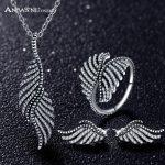 ANFASNI 2017 New 925 <b>Sterling</b> <b>Silver</b> <b>Jewelry</b> Set Feather Clear Cubic Zirconia <b>Jewelry</b> Sets For Women Engagement <b>Jewelry</b>